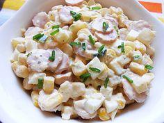 Sałatka z jajkiem, kabanosem, gruszką, ananasem, szczypiorkiem i kukurydzą Pasta Salad, Potato Salad, Salads, Appetizers, Potatoes, Ethnic Recipes, Dinners, Drinks, Pineapple