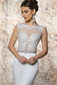 Brides: Cristiano Lucci. Fit-and-flare gown with illusion sweetheart neckline, embellished with delicate floral lace appliques on bodice and illusion back.