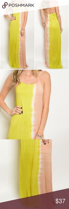"""Blush Peach Pink Lime Tie Dye Maxi Dress Spaghetti strap, scoop halter neckline maxi dress. 100% rayon. Length approx 50"""" Leather and Sequins Dresses Maxi"""