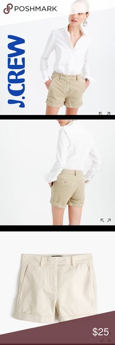 NWT!! J.Crew Rayner chino short in ecru Brand new, never worn pair of J.Crew Rayner chino shorts in ecru. They sit slightly below waist. The first 3 pics are from the J.Crew website. These shorts received excellent reviews!  Perfect for summer. J. Crew Shorts