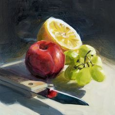 "Oil Painting of Fruit with a Knife, 8 x 8"", oil on hardboard, $110. This artist has a beautiful painterly technique that I love, and this small piece would be nice in the kitchen."