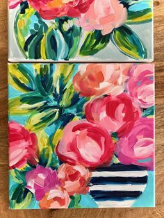 How to Paint Flowers with Acrylics for Beginners. Flower Painting Tutorial for Beginners. Flowers In Vase Painting, Easy Flower Painting, Tulip Painting, Paint Flowers, Abstract Flowers, Flower Paintings, Canvas Painting Tutorials, Acrylic Painting For Beginners, Simple Acrylic Paintings