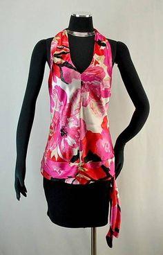 066e0261a9fce5 ~BANANA REPUBLIC~ Bright, Bold Colored Flowered Silk Halter Top, Fully  Lined, XL | eBay