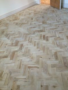 Reclaimed pine blocks, restored and sealed with one coat of Woca white wood Lye.