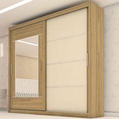 Guarda-roupa com porta de correr e espelho ajuda a dar a sensação de amplitude no ambiente. #Prod104428