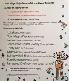 Local folks Holiday shopping at a neighbor's house the 19th. Plus scentsy Megan France and chair massages!  Also have openings for vendors on December 3rd. Hope to see you there. #shopsmall #smallbusiness