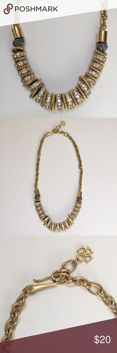 Ann Taylor statement necklace Mixed metal and grey satin necklace Ann Taylor Jewelry Necklaces