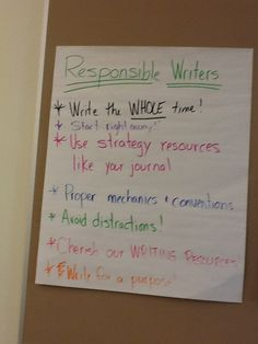 The fifth graders made this chart displaying their thinking about what responsible writers do.