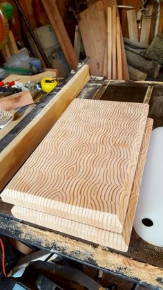Custom end grain cutting board finishing Douglas Fir. Trimmed cut an edge sanded to 220 and finished. End Grain Cutting Board, Diy Cutting Board, Wood Cutting Boards, Chopping Boards, Woodworking Inspiration, Woodworking Projects Plans, Diy Woodworking, Wooden Projects, Wood Crafts