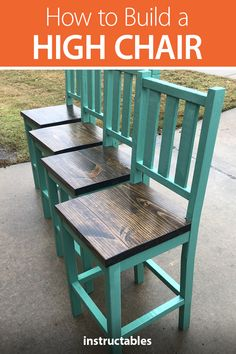 How to Build a High Chair Build a set of high chairs perfect for your counters. Diy Furniture Plans Wood Projects, Building Furniture, Woodworking Projects Diy, Woodworking Furniture, Cool Furniture, Outdoor Furniture Sets, Diy Furniture From Pallets, Furniture Design, Furniture Movers