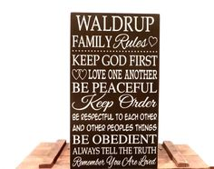 Family rules sign personalized last name  by freelandfolkartsigns