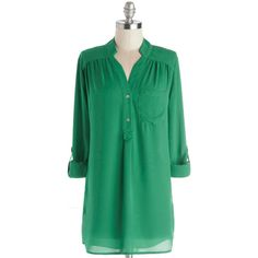 Long 3 Pam Breeze-ly Tunic (745 MXN) ❤ liked on Polyvore featuring tops, tunics, green, shirts, modcloth, tunic, apparel, woven top, green collared shirt and long button shirt