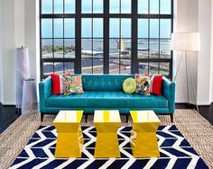 Definitely no fear of bright color in this room by Lauren M. Levine Interiors