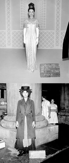 Costume tests of Audrey Hepburn dressed as her character Eliza Doolittle for the film My Fair Lady, 1963