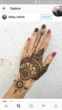 Ideas For Bridal Mehendi Ideas Pretty Henna Designs, Henna Hand Designs, Unique Mehndi Designs, Mehndi Designs For Hands, Henna Tattoo Designs, Henna Tattoo Hand, Hand Mehndi, Henna Art, Cool Henna