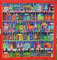Quilt Inspiration: California Fall Quilt Show: Part 5 House Quilt Patterns, House Quilt Block, Scrap Quilt Patterns, Applique Quilts, Quilt Blocks, Fall Quilts, Scrappy Quilts, Strip Quilts, Colorful Quilts