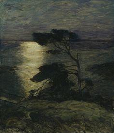 Thorolf Holmboe: Kustlandskap med midnattssol , 1903.