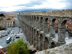 Aquaduct in Segovia Spain.  No mortar was used in the construction.  Visited 1994.
