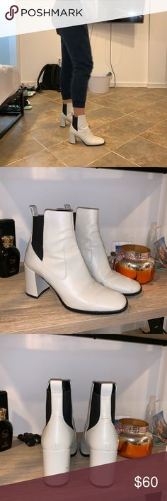 Via Spiga booties Super cute Via Spiga off white booties. A few marks but you can't avoid that with white shoes. Make an offer! Via Spiga Shoes Ankle Boots & Booties