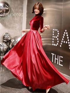 Solid color Chic / modern Off the shoulder Three-quarter-sleeve red color quarter - Red Things Wedding Dress Brands, Wedding Dresses For Sale, Evening Dresses, Formal Dresses, Quarter Sleeve, Sleeve Styles, Red Things, Wedding Colors, Off The Shoulder