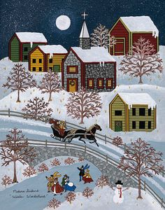 Folk Art Primitive Winter print by Medana by MedanaGabbardGallery, $36.00