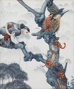 "Tiffany Bozic  ""Altruism""  Acrylic on Maple Panel, 2015"