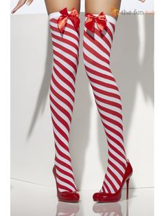 Hosiery Thigh High Candy Cane Stockings Polyester Imported Hand Wash Red and white striped tights Candy cane inspired stripes Wear with a costume or to add Striped Stockings, Sexy Stockings, Thigh High Socks, Thigh Highs, Christmas Fancy Dress, Xmas, Christmas Lingerie, Womens Christmas, Merry Christmas