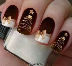 Latest Christmas Nail Ideas for 2018 - Liatsy Latest Christmas Nail Ideas for Christmas Cardigan Nail Art Designs Ideas; Christmas nails made of acrylic;You are in the right place about rose gold nails He Diy Christmas Nail Designs, Cute Christmas Nails, Holiday Nail Art, Xmas Nails, Diy Nail Designs, Winter Nail Art, Winter Nail Designs, Simple Nail Designs, Red Christmas
