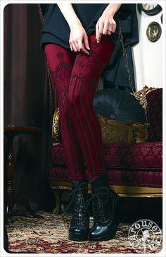 Burleske Leggings Damen Legging Burgund von Carouselink auf Etsy