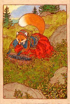 Fox lady gathering blueberries