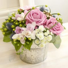 pictures of hot pink tulips in silver wine buckets - Google Search