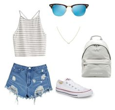 """"""""""" by darrahwright on Polyvore featuring Boohoo, Ray-Ban and Converse"""