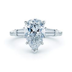 Pear Shaped Diamond Engagement Ring with Tapered Baguette Diamond Accents