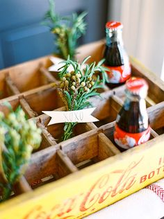A cute and easy party favor idea for your next holiday get together. All you need is mistletoe and mini Coca-Cola bottles.