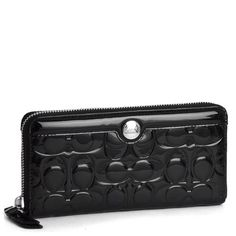 Coach black patent leather gallery embossed zip « Holiday Adds
