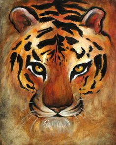 Tiger Art PRINT of an Original Acrylic by AscendingEverest