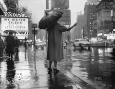 hailing a cab, New York 1950