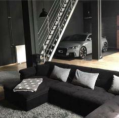 Audi TT-RS parked in the living room : malelivingspace Loft Interior Design, Garage Interior, Loft Design, Garage Design, Audi Tt Interior, Dream Home Design, Modern House Design, Loft Interiors, Apartment Design