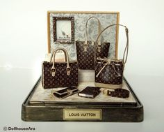 LV (No.4) Ooak Designer Handbags Purse decorating display sets -Dollhouse  Miniatures 1 12 d0f8e0ffd6c84