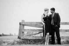 2013 Bonnie and Clyde style engagement shoot.  photoshoot.  Couple.  in love.  Blonde.  Fence. Country. Shotgun