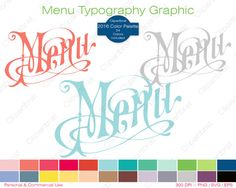 MENY TYPOGRAPHY Clipart Commercial Use Clipart Cafe by ClipArtBrat