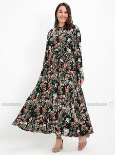 63fa0438792 Black - Multi - Unlined - Crew neck - Viscose - Plus Size Dress