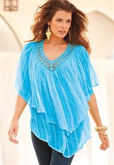 Plus Size Tiered Schiffli Blouse | One Stop Plus