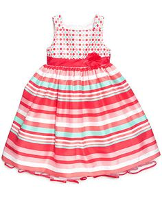 Nannette Little Girls' Mixed-Print Shantung Dress