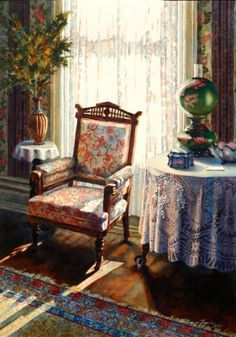 Sonya Terpening Watercolor How many of us had a grandma or aunt with a room just like this? (And you know there was a candy dish you were allowed to raid!)