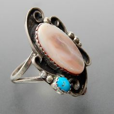 Native American Oval Mother Of Pearl Turquoise Wind Swirls Sterling Si – Gold Stream Boutique
