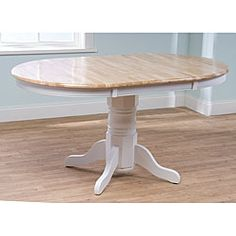 @Overstock - Farmhouse table will add a touch of country appeal to your dining room or kitchen Single pedestal leg table has a 38-inch round table expandable to 60 inches Dining furniture piece is constructed of sturdy rubberwoodhttp://www.overstock.com/Home-Garden/Rubberwood-Farmhouse-Table/3545824/product.html?CID=214117 $276.70 not sure how country i want to go...