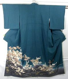 Gorgeous houmongi (semi-formal visiting kimono) with ume blossom pattern.