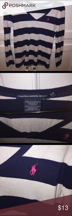 Selling this Navy and White striped Ralph Lauren Sport tee on Poshmark! My username is: sydneydaniellef. #shopmycloset #poshmark #fashion #shopping #style #forsale #Ralph Lauren #Tops