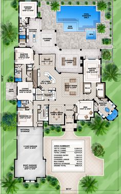 Mediterranean Dream Home Plan with 2 Master Suites Florida Mediterranean Spanish Luxury Floor Master Suite Butler Walkin Pantry CAD Available DenOfficeLibra. Dream House Plans, House Floor Plans, My Dream Home, Dream Homes, House Plans With Pool, House Design Plans, One Level House Plans, Sims 4 House Design, Mediterranean Style Homes